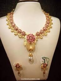 flower necklace designs images Designer gold floral necklace with earrings pinterest floral jpg