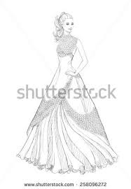 design a wedding dress beautiful vector sketch princesssilhouette wedding stock