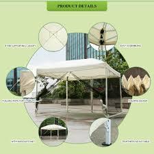 beige ikayaa 3 3 2 6m folding outdoor patio canopy gazebo tent