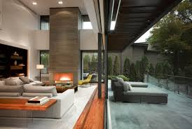 terrace living space fireplace impressive modern home in