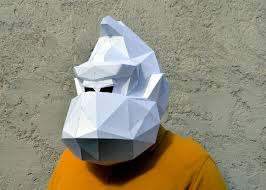 horse mask halloween city donkey kong mask papercraft mask paper gorilla pixels