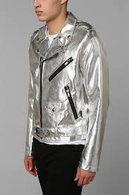 urban outfitters tripp nyc silver moto jacket in metallic for men
