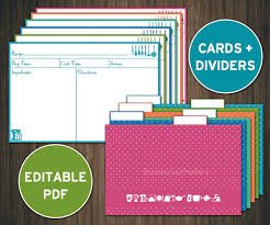 printable recipe cards template editable recipe cards divider 4x6 recipe cards printable recipe