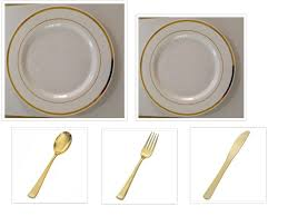 750 pieces plastic white w gold band china plates and
