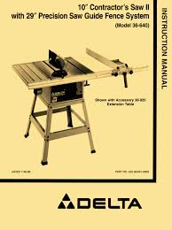 powermatic table saw parts delta 36 640 10 contractor table saw ii instructions parts manual