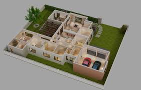 3d cutaway house full furnitures cgtrader