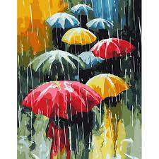 frameless umbrella rain diy painting by numbers kits oil painting