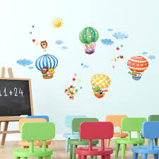 decowall da 1406b animal hot air balloons wall stickers animal hot air balloons wall stickers