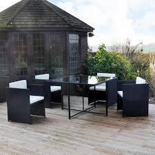 Amazon Garden Table And Chairs Kingfisher Rcube Rattan Effect Cube Table And 4 Chairs Garden Set