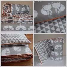 Woodland Duvet 100 Cotton Cot Bed Duvet Cover Set Girls Boys Grey Fox Geomertic