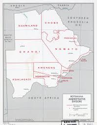 Botswana Map Large Scale Administrative Divisions Map Of Botswana 1969