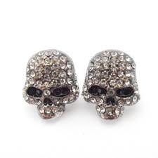 skull stud earrings skull stud earrings grey silver delicate skull design