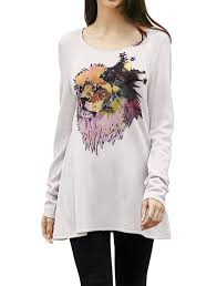 women cashmere wool pullover lion print tunic sweater sweaters