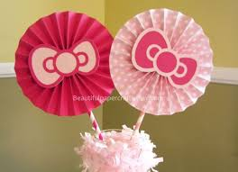 hello centerpieces 2 6 pink bows rosettes centerpieces paper fans pinwheels