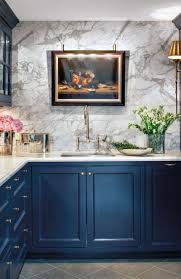 White And Blue Kitchen Cabinets by Furniture Modern Kithen Blue Kitchen Cabinets And Marble Wall Design