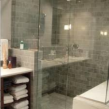 Gray Subway Tile Bathroom by Blue Gray Subway Tile Shower Design Ideas