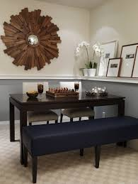 gray wood dining table with blue storage dining benches