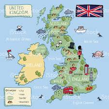 Map Of Manchester England by Cartoon Map Of United Kingdom All Objects Isolated Stock Vector
