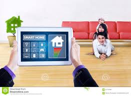 Home App Tablet With Smart Home App And Happy Family Stock Photo Image