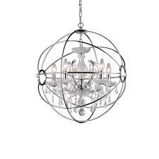 Chandeliers Austin Warehouse Of Tiffany Saturn U0027s Ring 6 Light Chrome Indoor