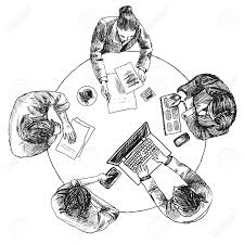 business team meeting concept top view people on table sketch