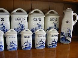 czechoslovakia china 15 piece kitchen canister set antique