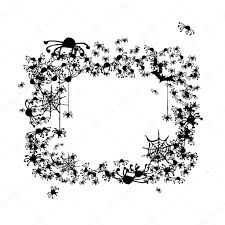 halloween frame made from spiders and bats u2014 stock vector