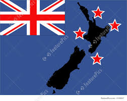 New Zealand New Flag Illustration Of New Zealand Map And Flag