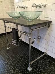 Industrial Bathroom Vanity Lighting Bathroom With Subway Tile And Industrial Vanity Photos Diy