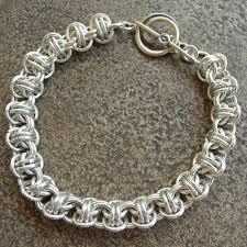 silver weave bracelet images Sterling silver japanese orbital chainmaille bracelet barrel weave jpg