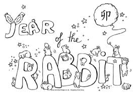 Year Of The Rabbit Colouring Rabbit Colouring Page