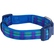 scottish hudson blue plaid tartan style designer dog collar