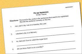 capitalization fix up worksheet u2013 winter theme speech therapy ideas