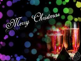 merry christmas in black background with wine bottle jpg