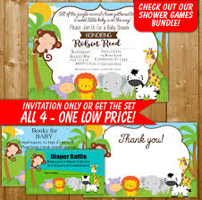 safari baby shower invitation diaper raffle books for baby