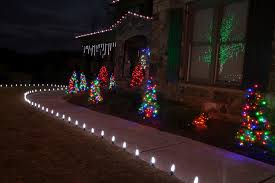 glamorous pre lit trees in landscape traditional with