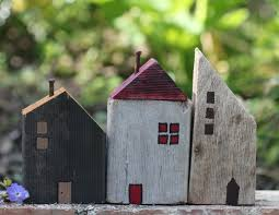 little wooden houses made from scrap wood board pieces craft