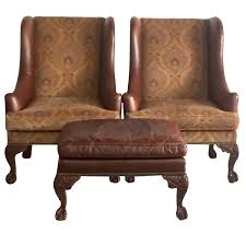Henredon Bedroom Furniture Used Henredon Leather George Ii Period Wing Chairs And Ottoman Three