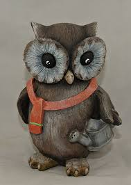photo of owl garden decor painted resin owl figurine lawn