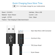 chunfa black short micro usb cable for android phone charger fast
