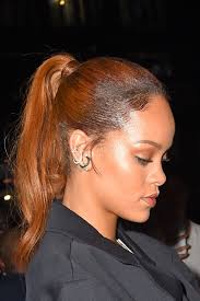 rihanna hoop earrings rihanna s sleek ponytail is absolute perfection in a