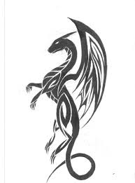 black tribal dragon tattoo design stencil