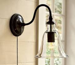 Plug In Sconces Wall Lamps Kiven Wall Lamp 1 Light Plug In Bulb Included Wall Sconce Glass