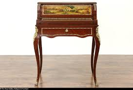 Large Secretary Desk by French Antique 1920 Secretary Writing Desk Hand Painted Roll Top