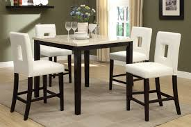 5 piece counter height faux cream marble dining set