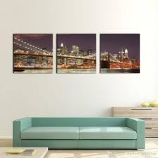 Brooklyn Home Decor 3 Panel Wall Art Blue Brooklyn Bridge And Manhattan Skyline At