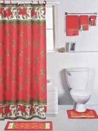 Christmas Bath Rug Set by Season U0027s Greetings 15 Piece Shower Curtain Bath Set 1 Bath Rug 1