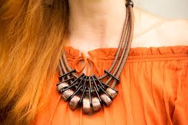 handmade statement necklace images Handcrafted bronze statement necklace and rust maxi dress jpg