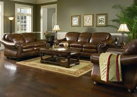 Western Leather Chair Dark Walnut Square Coffee Table Included A Pair Brown Leather