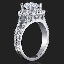 round square rings images Round diamond square halo split band ring with medium thickness jpg